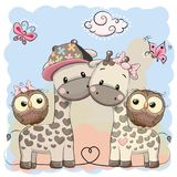 Two cute giraffes and owls. On a blue background Royalty Free Stock Images