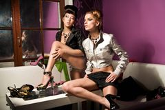 Two cute girls Stock Images