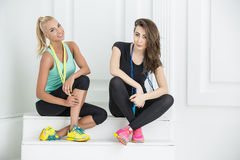 Two cute girls athletic Stock Photography