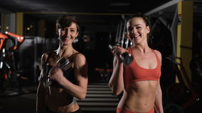 Two cute girls doing exercises with dumbbells. They communicate with each other stock video footage