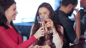Two cute girls girlfriends meet at the bar. Cheerful company of guys and girl celebrating at the bar. The company has a rest after work. Cheerful company relax stock footage