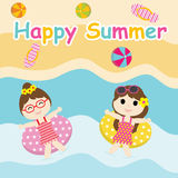 Two Cute girls play with swim ring on the beach cartoon, Summer postcard, wallpaper, and greeting card stock photography