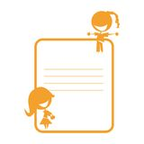 Two cute girls on a schoolbook sticker Stock Images