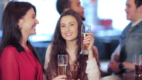 Two cute girls standing at the bar are talking and. Cheerful company of guys and girl celebrating at the bar. The company has a rest after work. Cheerful company stock footage