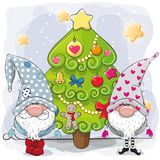 Two Cute Gnomes And Christmas Tree Stock Photography