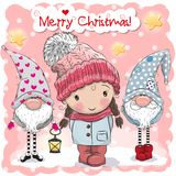 Two cute Gnomes and girl on a pink background. Greeting Christmas card with Two cute Gnomes and girl on a pink background royalty free illustration