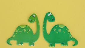 Dinosaurs on yellow background