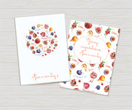 Two cute greeting cards. Bright watercolor illustration with fruit. Royalty Free Stock Photo