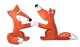 Two cute hand-drawn cartoon foxes, veector illustration.Cartoon character foxes stock image