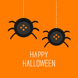 Two cute hanging button spiders on web. Happy Halloween card. Flat design Stock Photography
