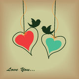 Two cute hearts Stock Photography