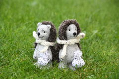 Two cute hedgehog toys in the park Royalty Free Stock Photography
