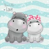 Two cute hippo cartoon on striped background stock illustration
