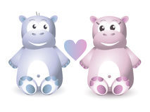 Two Cute Hippo Sitting Stock Images