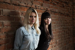 Two cute hipster girls posing against  red brick wall Royalty Free Stock Photo