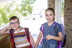 Brother sister school go. Two cute kids brother sister go to school Stock Photo