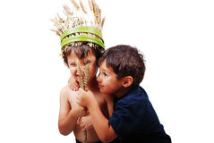 Two cute kids holding wheat piece Royalty Free Stock Images