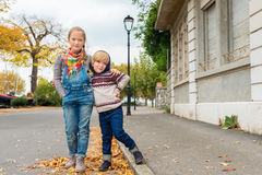 Two cute kids outdoors Royalty Free Stock Photo