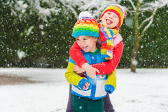 Two cute kids outdoors Royalty Free Stock Photography