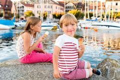 Two cute kids outdoors Royalty Free Stock Images