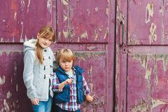 Two cute kids outdoors Stock Image