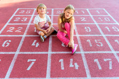 Two cute kids outdoors Stock Images