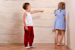Two Cute Kids Playing Hide and Seek Royalty Free Stock Images