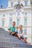 Two cute kids in Prague Stock Image