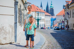 Two cute kids in Prague royalty free stock image