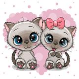 Two cute Kittens on a heart background royalty free illustration
