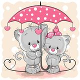 Two Cute Kittens With Umbrella Under The Rain Royalty Free Stock Photography