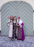 Two cute ladies in the Armenian folk clothing Stock Photography