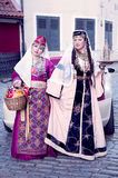 Two cute ladies in the Armenian folk clothing Stock Image