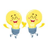 Two Cute light bulb character with funny face, showing thumb up Stock Photo