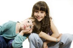 Two cute little bored girls Stock Photo