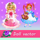 Two cute little dolls on a pink background Royalty Free Stock Photos