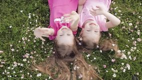 Two cute little girl lying upside down on meadow grass and flowers making air kiss and waving hand stock video