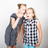 Two cute little girlfriend expressing different emotions. Funny kids. Best friends pamper and posing.  royalty free stock photography