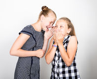 Two cute little girlfriend expressing different emotions. Funny kids. Best friends pamper and posing.  stock photo