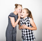 Two cute little girlfriend expressing different emotions. Funny kids. Best friends pamper and posing Royalty Free Stock Image