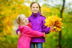Two cute little girls having fun on beautiful autumn day. Happy children playing in autumn park. Kids gathering yellow fall foliag. E. Autumn activities for Stock Photo