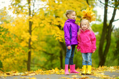 Two cute little girls having fun on beautiful autumn day. Happy children playing in autumn park. Kids gathering yellow fall foliag. E. Autumn activities for Stock Image