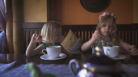 Two cute little girls are having tea in a cozy cafe. Careless times. Two cute little girls are having tea in a cozy cafe. Little blondies are drinking tea in a stock video footage
