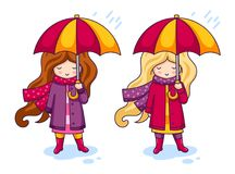 Two Cute Little Girls In Pink Coats And A Big Knitted Scarves, With Umbrellas. Autumn Fashion. Royalty Free Stock Image