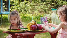 Two little girls are drinking lemonade at a summer picnic. Two cute little girls in pink dresses are drinking lemonade at a summer picnic stock video footage
