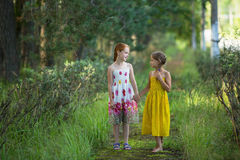 Two cute little girls talking in the Park. Walking. Royalty Free Stock Photography