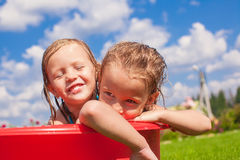 Two cute little happy girls having fun in small Stock Photography