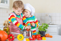 Two cute little kid boys cooking italian soup and meal with fres Royalty Free Stock Photo