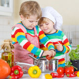Two cute little kid boys cooking italian soup and meal with fres Royalty Free Stock Photography