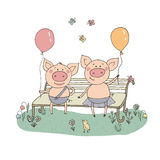 Two cute little pigs sitting on a bench with balloons. The bird sings their song. Funny vector illustration in cartoon style Stock Photos